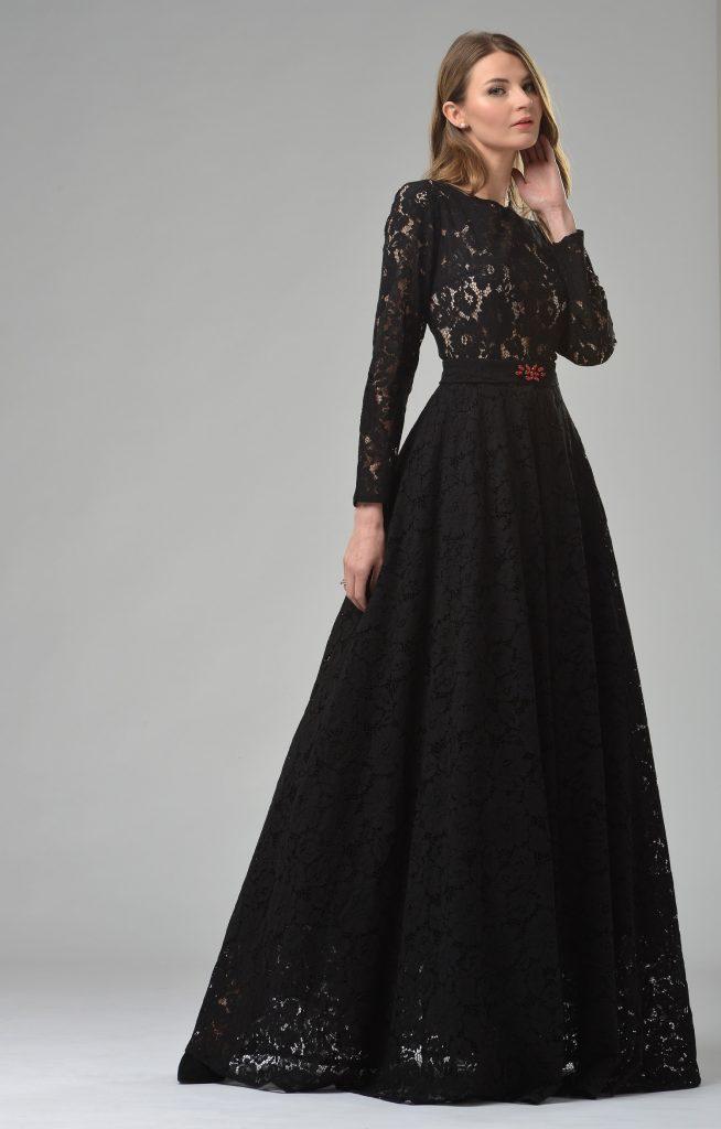 Abendkleid schwarzes mit armeln langes