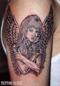 Zuruck engel tattoos voll flugel