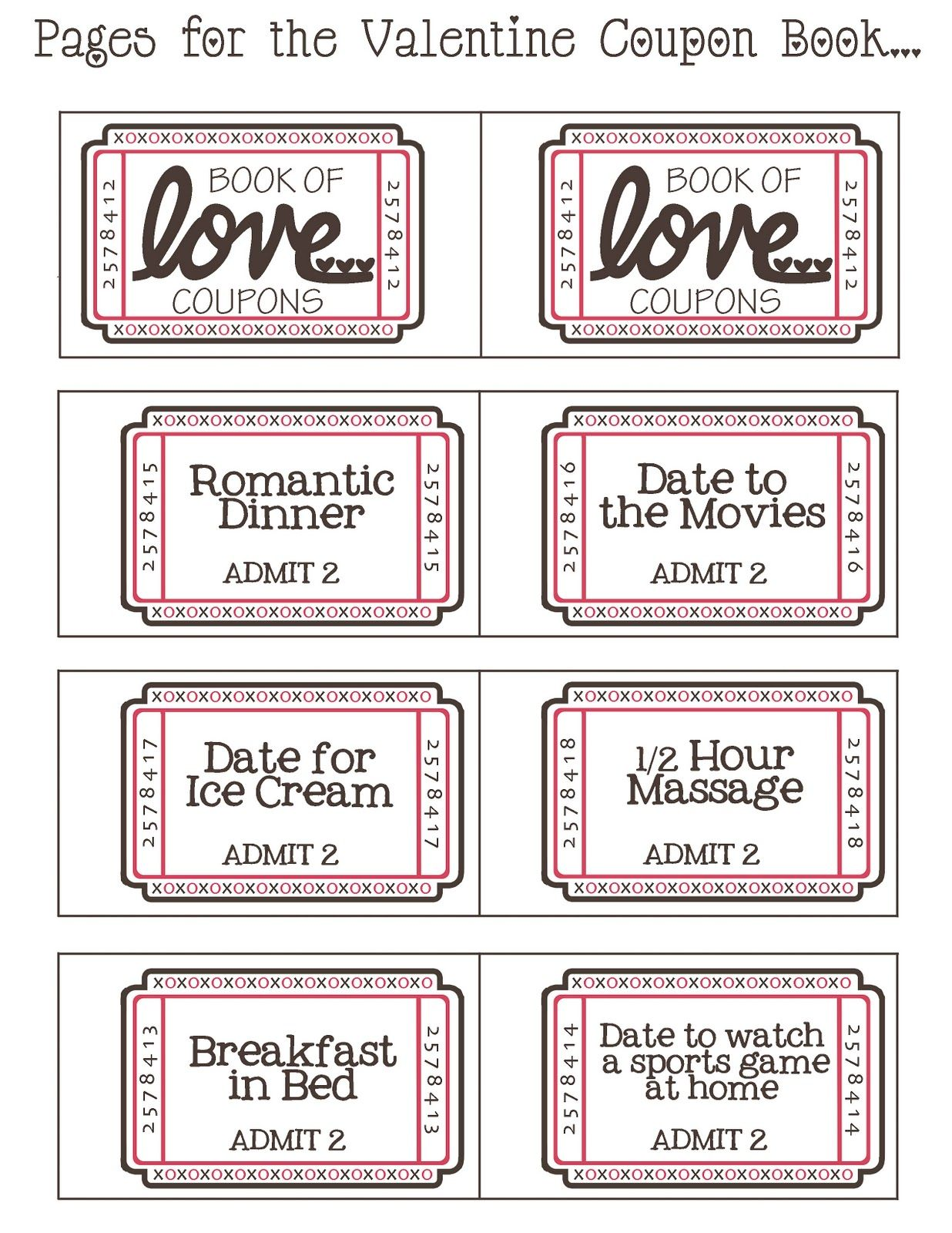 Coupons valentine liebe free printable