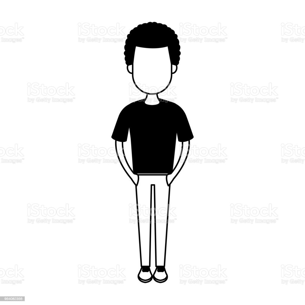 Cartoon black boy man white