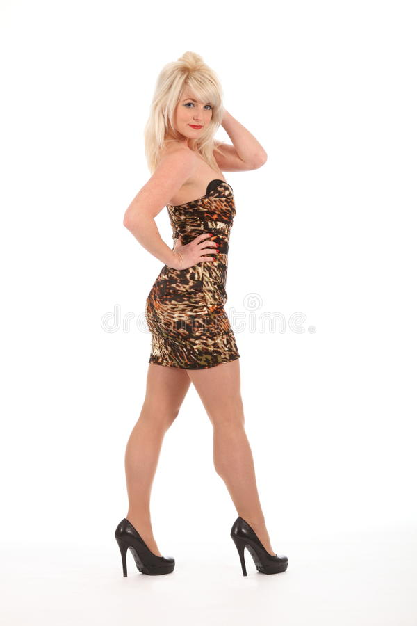 Blonde girl heels sexy high