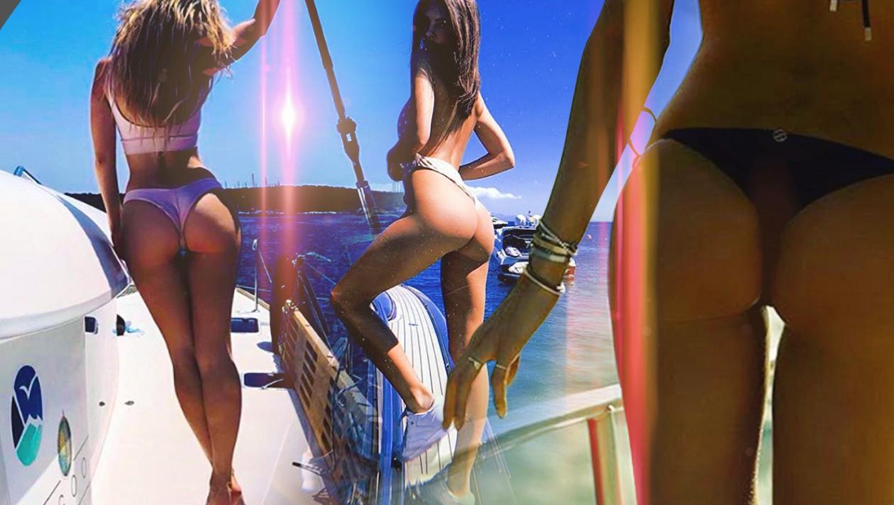 Bikini community strand geben arsch,