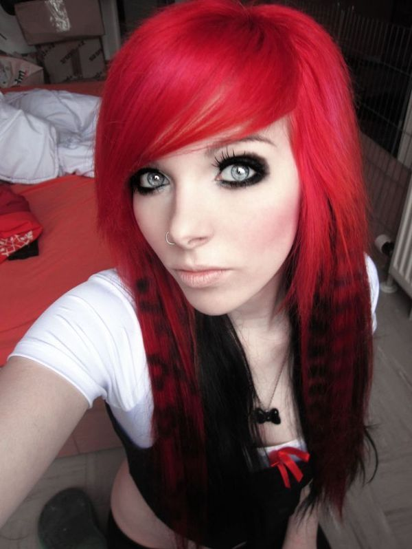 Emo rotes blowjob haar madchen