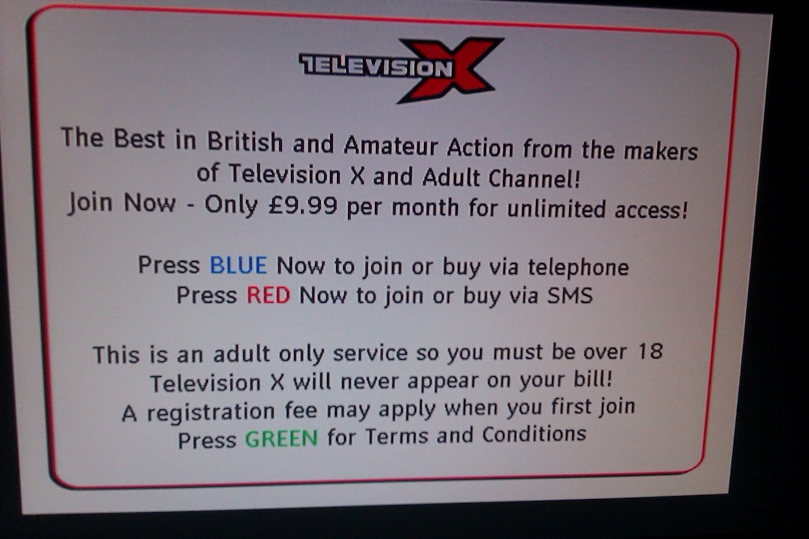 Channel television x the adult